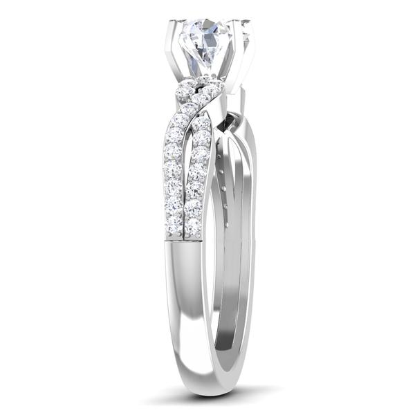 Side View of Designer 30 Pointer Platinum Double Shank Diamond Solitaire Engagement Ring JL PT 6994