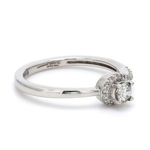 Side View of 20 Pointer Designer Curvy Solitaire Platinum Ring for Women JL PT 576