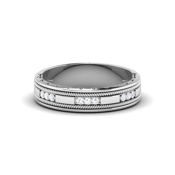 Half Eternity Platinum Wedding Band with Diamonds Ring JL PT 6767