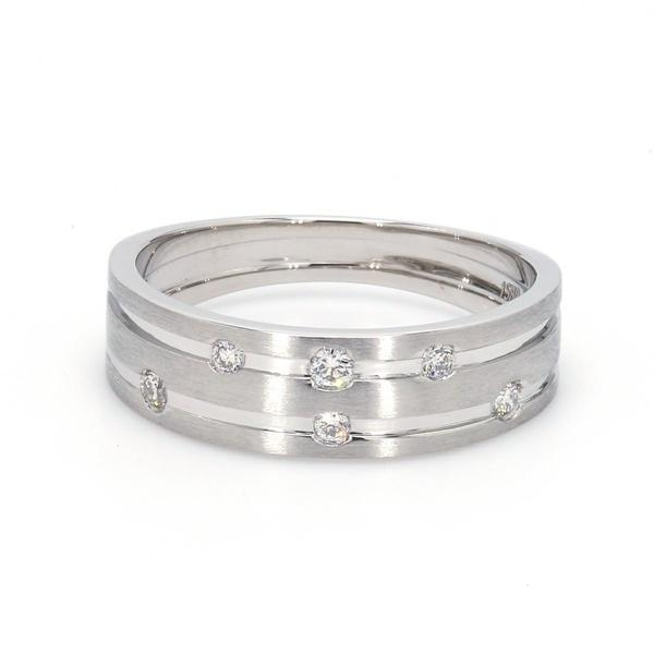 Front View of Designer Platinum Ring with Grooves & Diamonds for Women JL PT 570