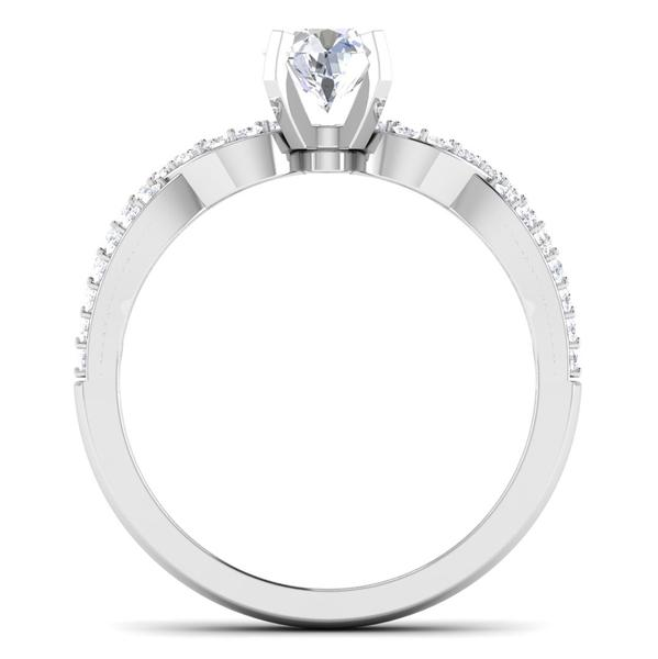 Circle View of Designer 30 Pointer Platinum Double Shank Diamond Solitaire Engagement Ring JL PT 6994