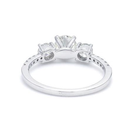 Back View of Platinum Solitaire Engagement Ring with Diamond Accents JL PT 584