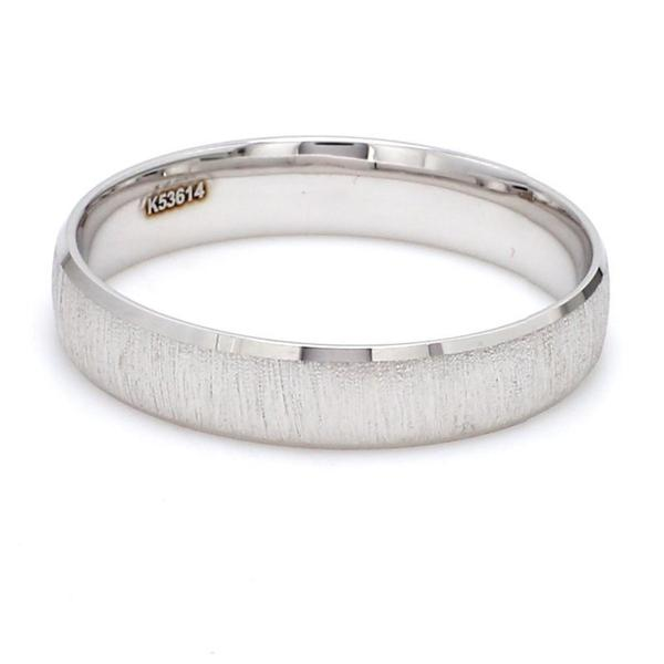 Side View of Japanese Textured Platinum Love Bands JL PT 606