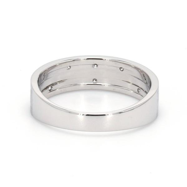 BACK View of Designer Platinum Ring with Grooves & Diamonds for Women JL PT 570