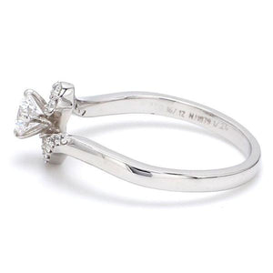 Left Side View of Designer 30 Pointer Diamond Shank Solitaire Platinum Engagement Ring JL PT 583