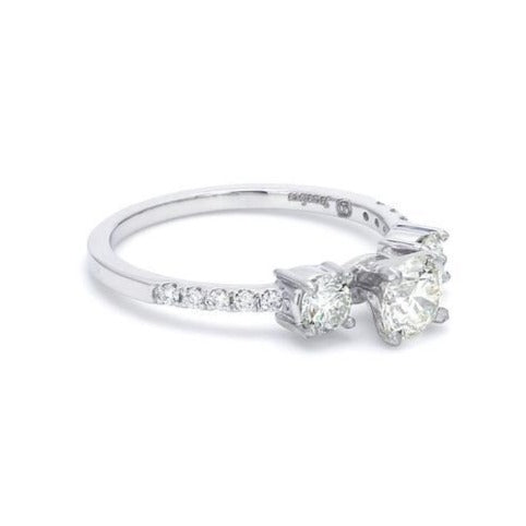 Side View of Platinum Solitaire Engagement Ring with Diamond Accents JL PT 584