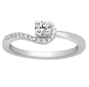 20 Pointer Designer Curvy Solitaire Platinum Ring for Women JL PT 576