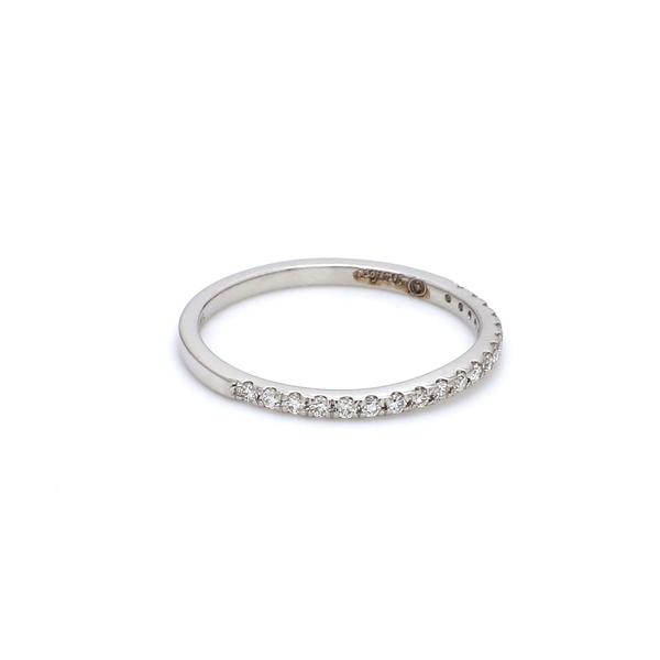 Side View of Curvy Half Eternity Platinum Ring with Diamonds JL PT 585