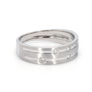 SIDE View of Designer Platinum Ring with Grooves & Diamonds for Women JL PT 570