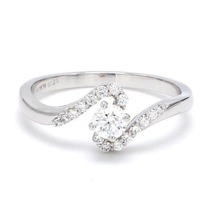 Front View of Designer 30 Pointer Diamond Shank Solitaire Platinum Engagement Ring JL PT 583