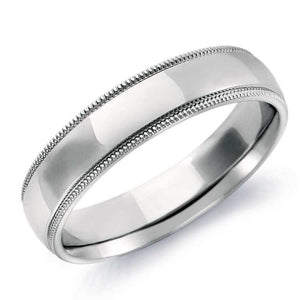 5mm Plain Platinum Milgrain Band for Men SJ PTO 254 in India