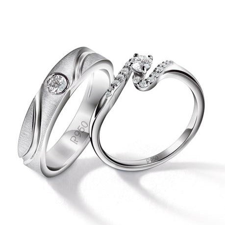 Designer Solitaire Platinum Couple Rings JL PT 583