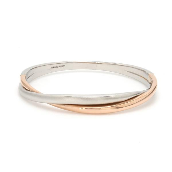 Thin Platinum & Rose Gold Fusion Ring for Women JL PT 335 Table View