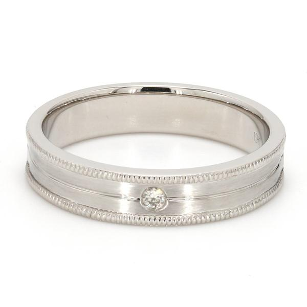Unisex Designer Platinum Ring with Raised Milgrain Edges & a Single Diamond JL PT 571