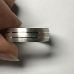 Simple Platinum Ring for Him with 2 Line Grooves JL PT 568