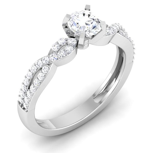 Perspective View of Designer 30 Pointer Platinum Double Shank Diamond Solitaire Engagement Ring JL PT 6994