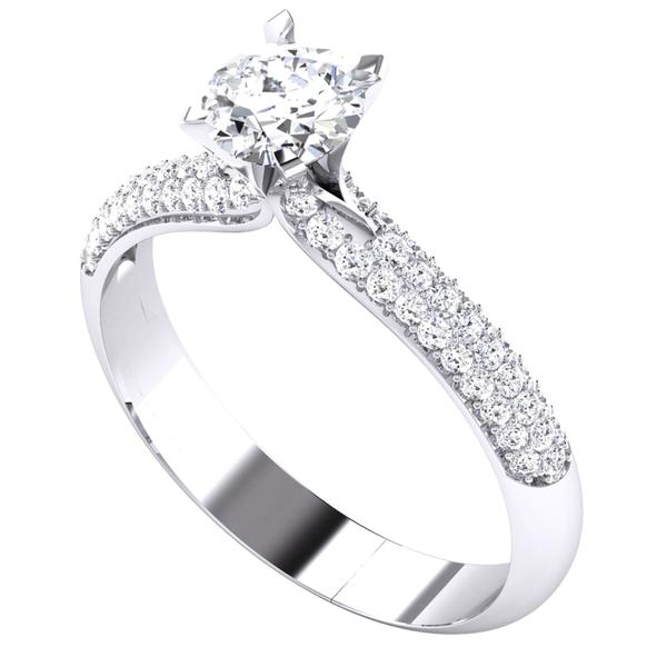 50 Pointer Platinum Solitaire Engagement Ring with Small Diamonds on the Shank JL PT 486