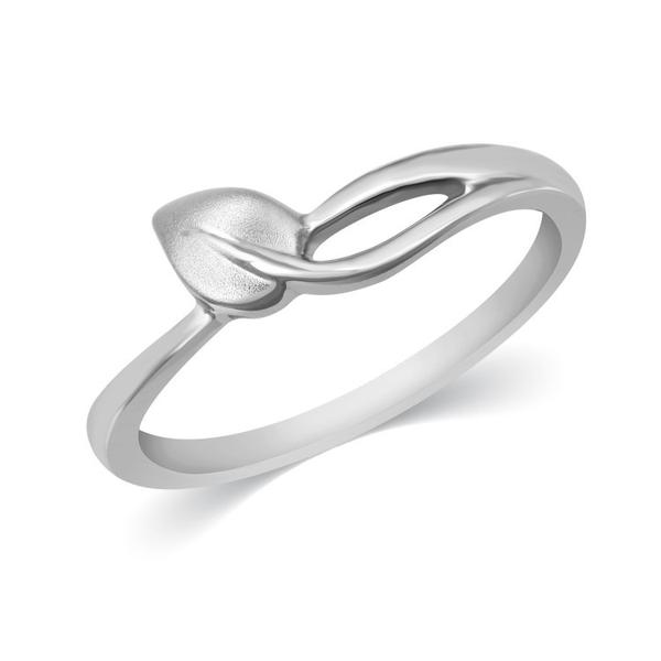 Plain Platinum Leaf Ring for Women JL PT 334