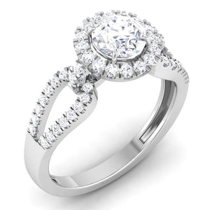 Designer Halo Solitaire Engagement Ring in Platinum JL PT 514