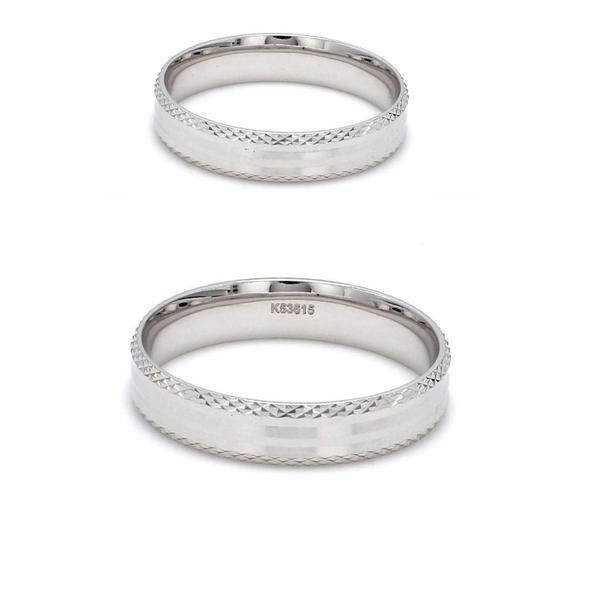Japanese Designer Platinum Love Bands with Textured Edges Couple Ring JL PT 604