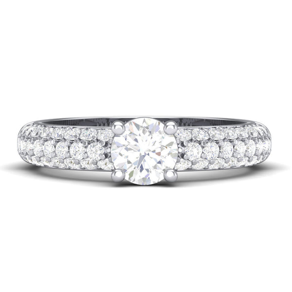 30 Pointer Platinum Solitaire Engagement Ring with 3 Row Diamonds JL PT 462 in India