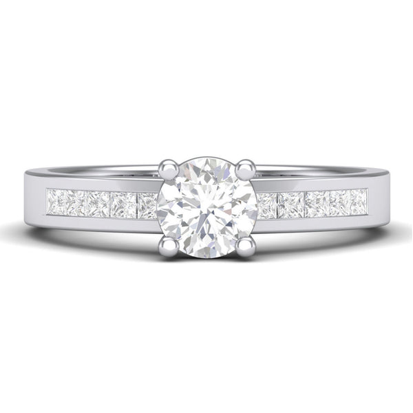 30 Pointer Solitaire Platinum Engagement Ring with Princess Cut Diamond Accents for Women JL PT 461 in India