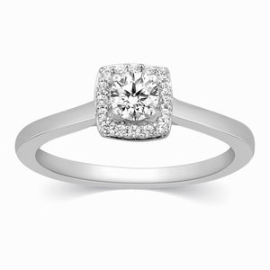 30 Pointer Square Halo Diamond Platinum Engagement Ring JL PT 325 in India