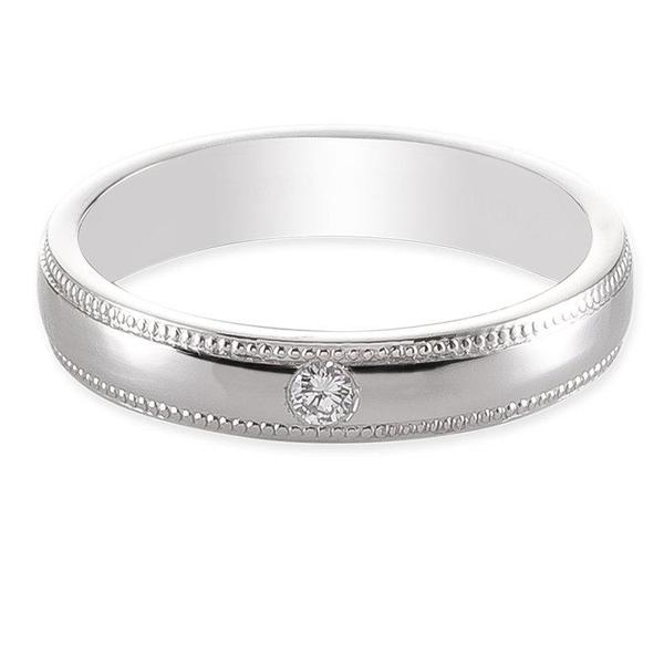 Front View of Single Diamond Milgrain Platinum Couple Rings JL PT 539