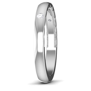 Three Diamond Unisex Platinum Diamond Band with Hidden Milgrain JL PT 6774