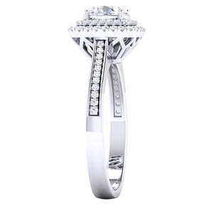 Designer Square Double Halo Solitaire Platinum Engagement Ring for Women JL PT 490