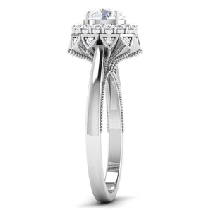 Side View of Designer 30 Pointer Platinum Halo Diamond Solitaire Engagement Ring JL PT 6603