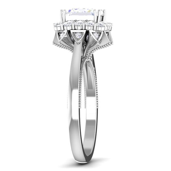 Side View of 30 Pointer Platinum Halo Princes Cut Diamond Solitaire Engagement Ring JL PT 6604