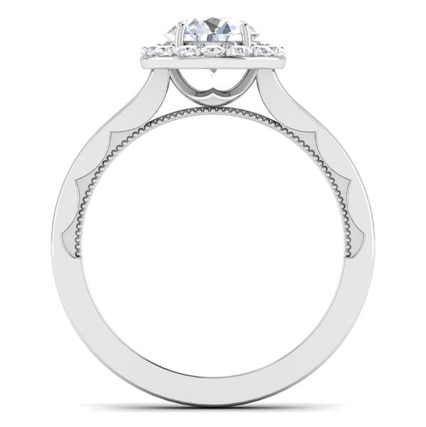 Circle View of 30 Pointer Platinum Diamond Halo Solitaire Engagement Ring JL PT 6590