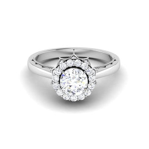 Front View of Designer 30 Pointer Platinum Halo Diamond Solitaire Engagement Ring JL PT 6603