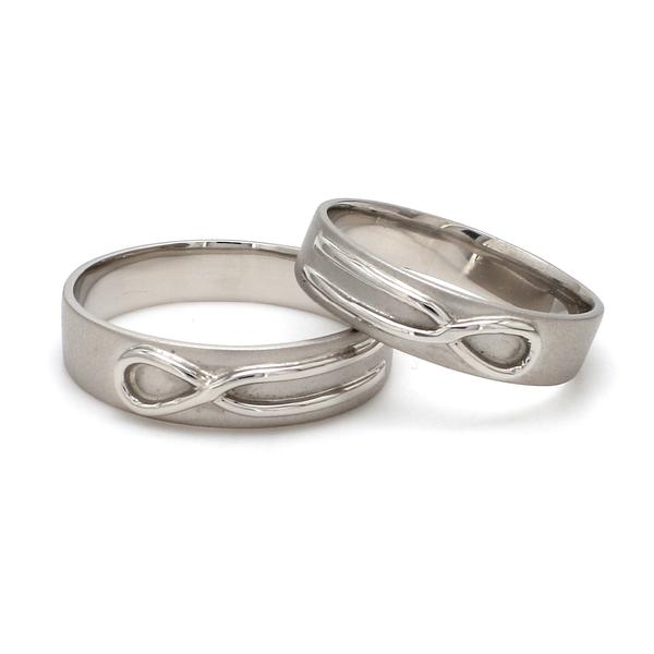 Front View of Plain Infinity Knot Platinum Love Bands SJ PTO 115
