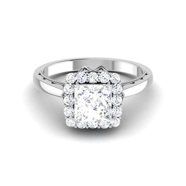 Front View of 30 Pointer Platinum Halo Princes Cut Diamond Solitaire Engagement Ring JL PT 6604
