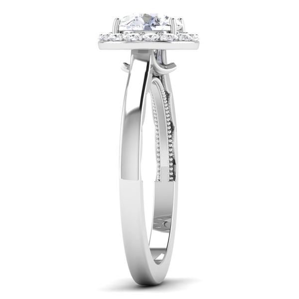 Side View of 30 Pointer Platinum Diamond Halo Solitaire Engagement Ring JL PT 6590