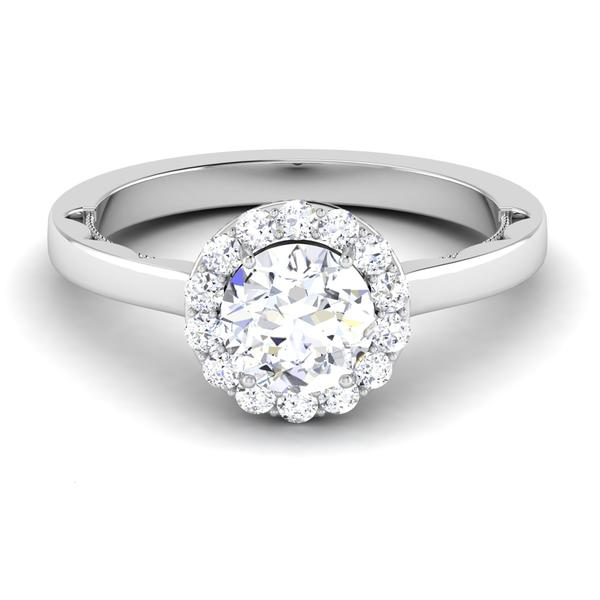 Front View of 30 Pointer Platinum Diamond Halo Solitaire Engagement Ring JL PT 6590