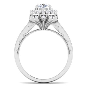 Circle View of Designer 30 Pointer Platinum Halo Diamond Solitaire Engagement Ring JL PT 6603