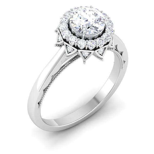 Perspective View of Designer 30 Pointer Platinum Halo Diamond Solitaire Engagement Ring JL PT 6603
