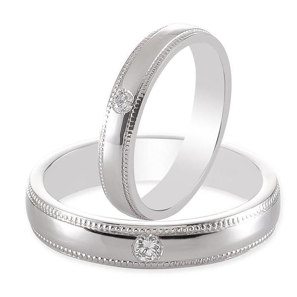 Single Diamond Milgrain Platinum Couple Rings JL PT 539