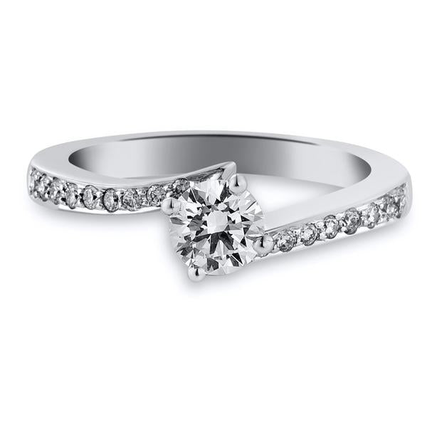 Designer Platinum Solitaire Engagement Ring with Curvy Shank with Diamonds JL PT 562