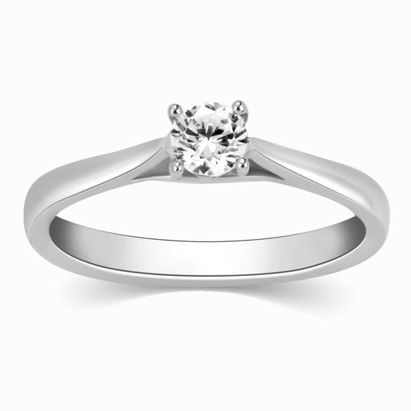 25 Pointer Platinum Solitaire Cathedral Ring for Women JL PT 330