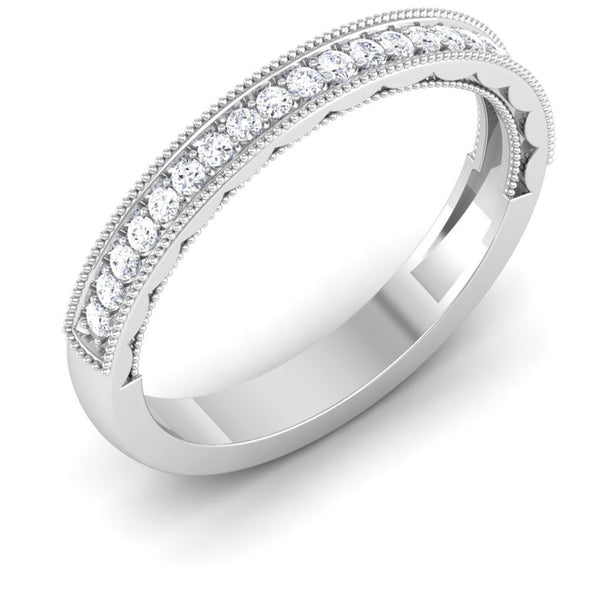 3mm Half Eternity Ring with Diamonds and Milgrain Finish in Platinum JL PT 435 in India