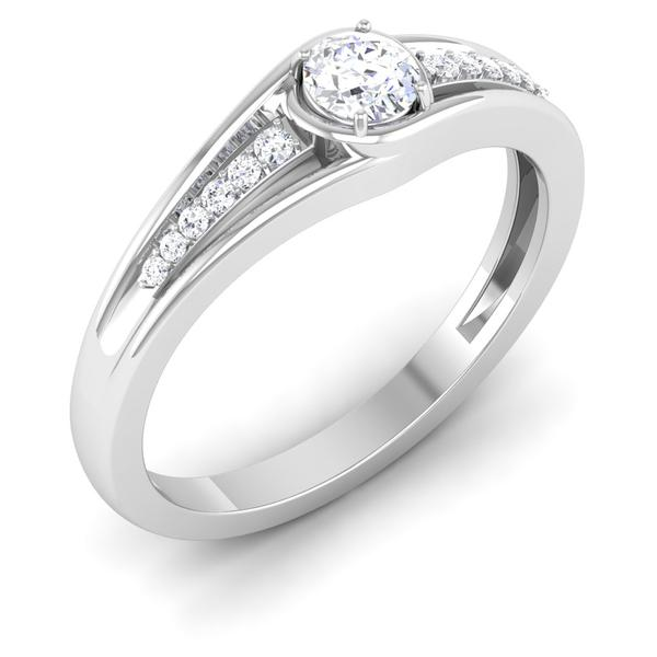 Perspective View of 30 Pointer Platinum Shank Diamond Solitaire Engagement Ring JL PT 6999
