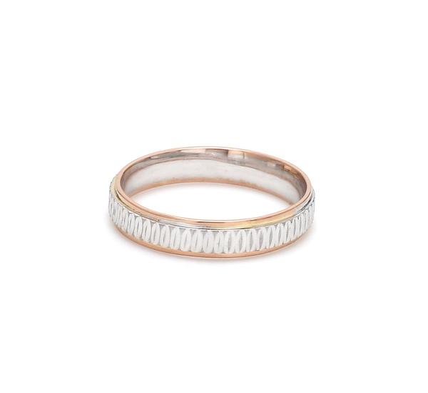 Front View of Japanese Platinum & Rose Gold Couple Rings JL PT 601