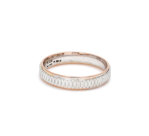 Side View of Japanese Platinum & Rose Gold Couple Rings JL PT 601