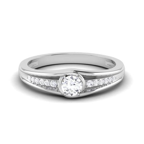 Front View of 30 Pointer Platinum Shank Diamond Solitaire Engagement Ring JL PT 6999