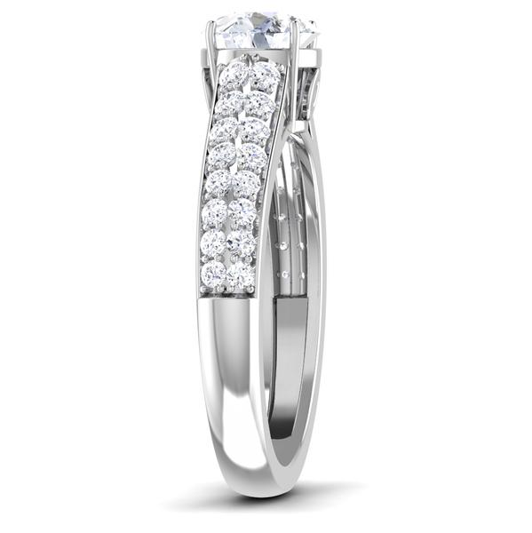 Side View of 30 Pointer Platinum Double Shank Diamond Solitaire Engagement Ring JL PT 6989
