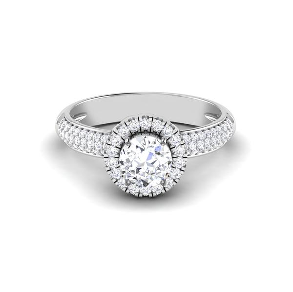 Front View of 30 Pointer Platinum Shank Halo Diamond Solitaire Engagement Ring JL PT 7006